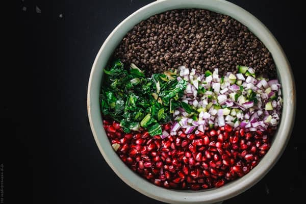 Brown lentils, pomegranate seeds, red onion and cucumber together in a mixing bowl