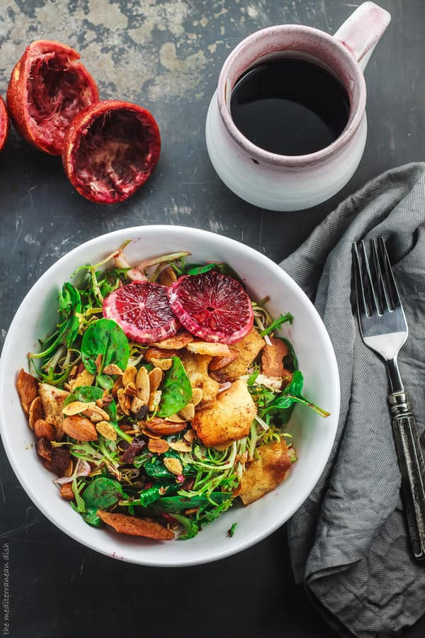 Easy frisee spinach salad recipe with blood orange vinaigrette.