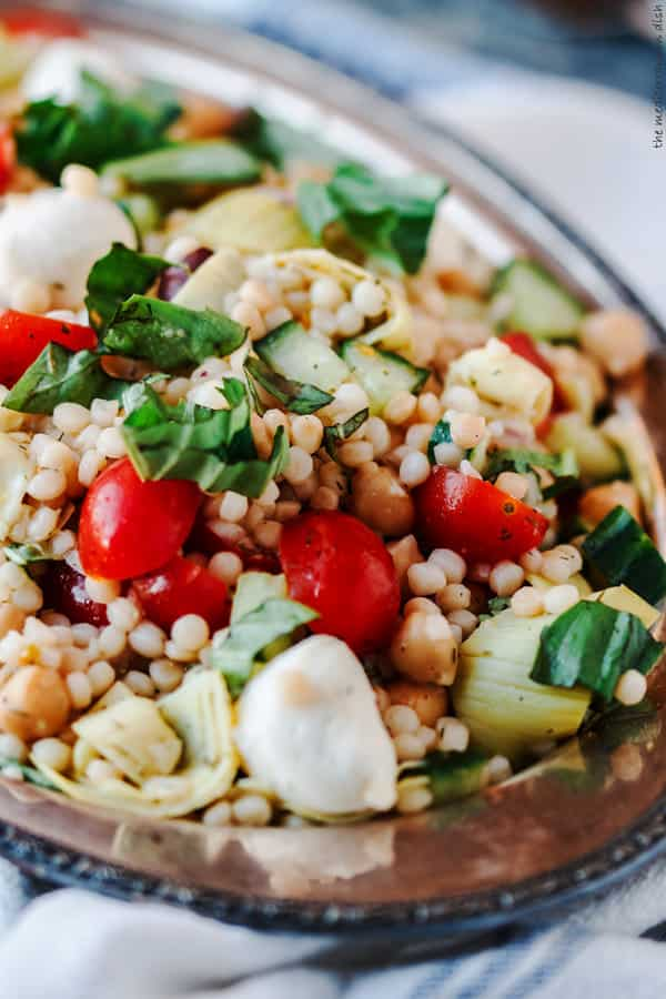 Israeli Couscous Recipe with Chopped Vegetables, Chickpeas, and Artichokes