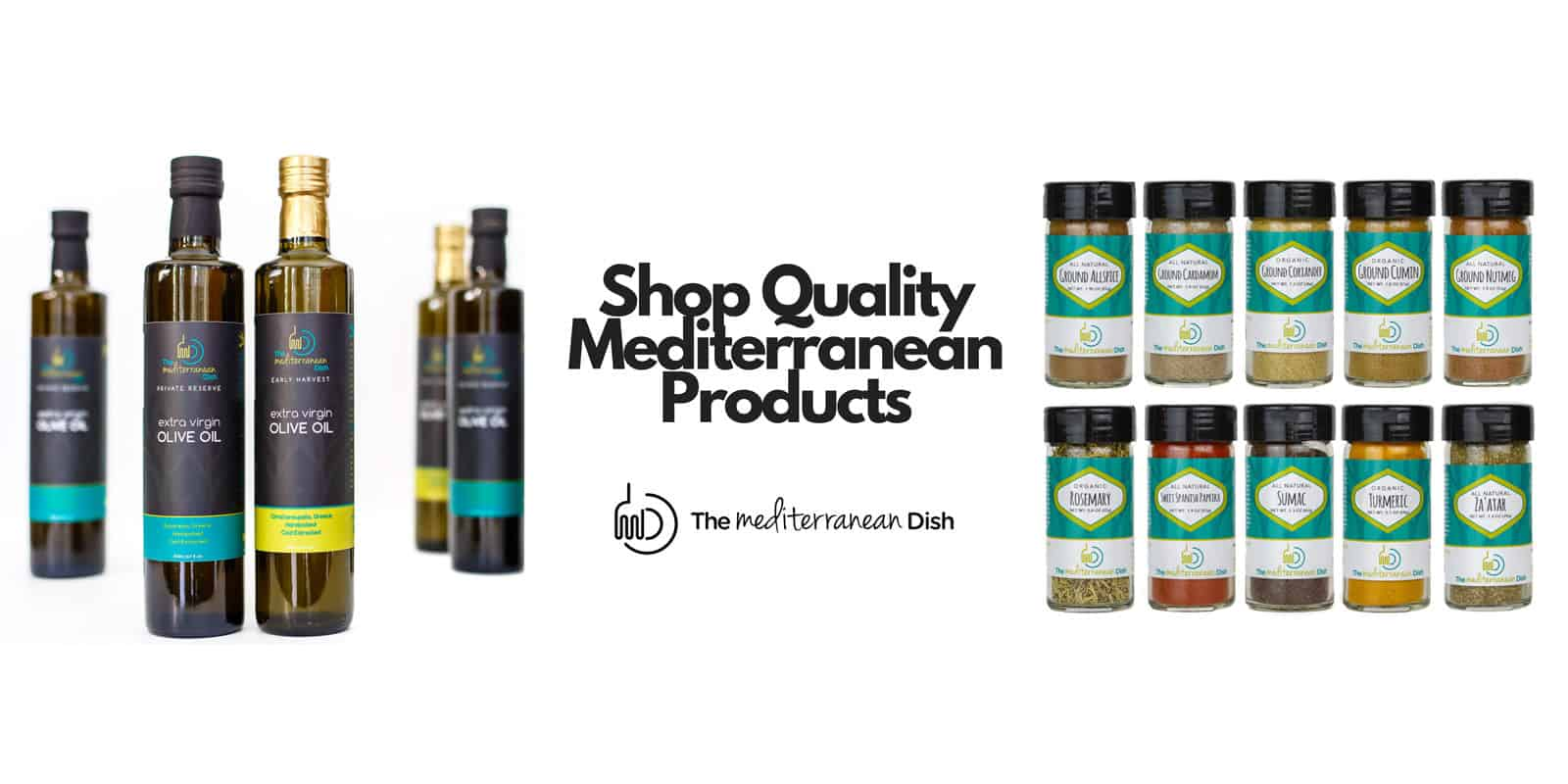 Mediterranean Dish spices and olive oils