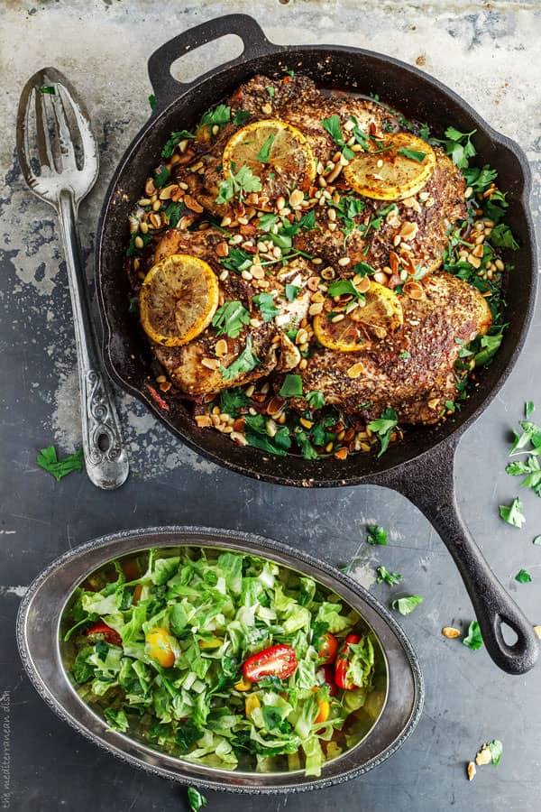 Za'atar Roasted Chicken served with a side salad