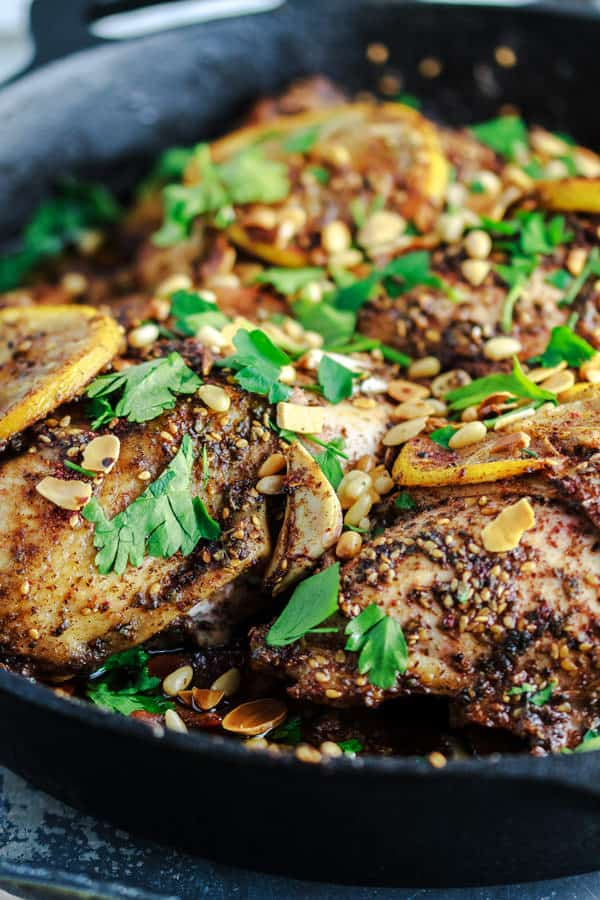 Roasted Chicken Breast bursting with flavors presented in a skillet