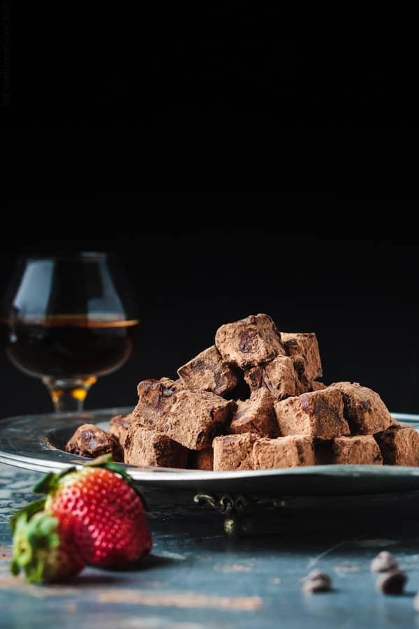 Homemade chocolate made with champagne and brandy. Make these melt-in-your mouth chocolates at home! Step-by-step photos included.