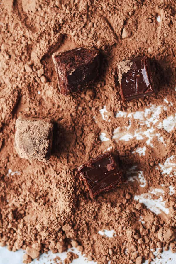 Homemade chocolates made with champagne and brandy