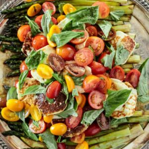 Fried halloumi cheese and asparagus salad from The Mediterranean Dish
