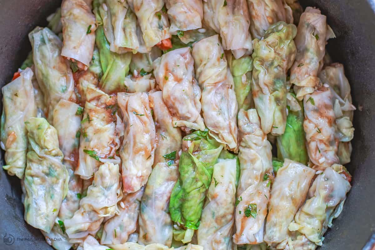 Vegetarian stuffed cabbage rolls layered in large pot
