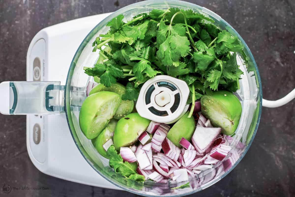 Salsa Verde Ingredients in Food Processor