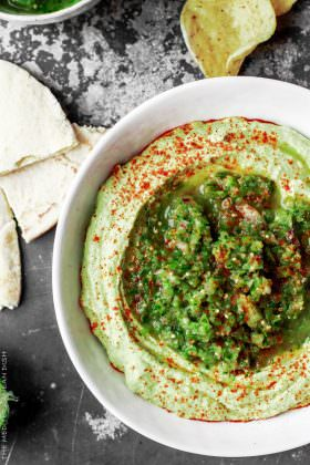 Avocado Hummus and Fresh Tomatillo Salsa Verde