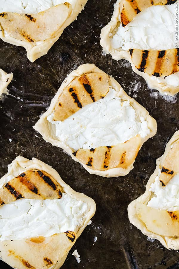 Puff pastry topped pears and goat cheese
