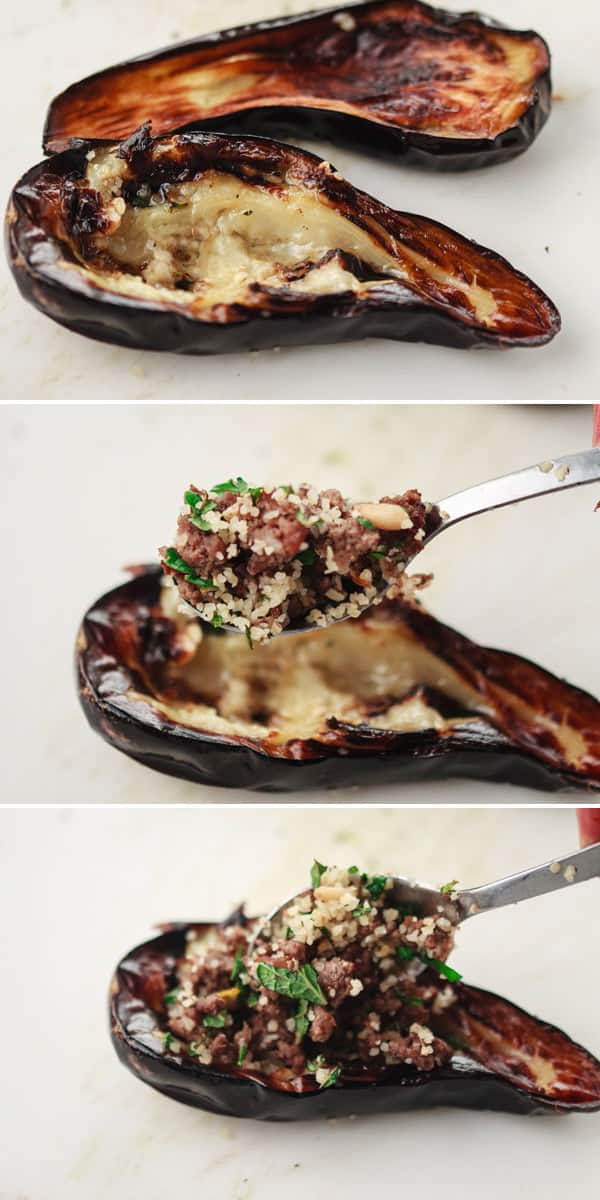 A Mediterranean recipe for stuffed eggplant with spiced ground beef, bulgur and pine nuts.