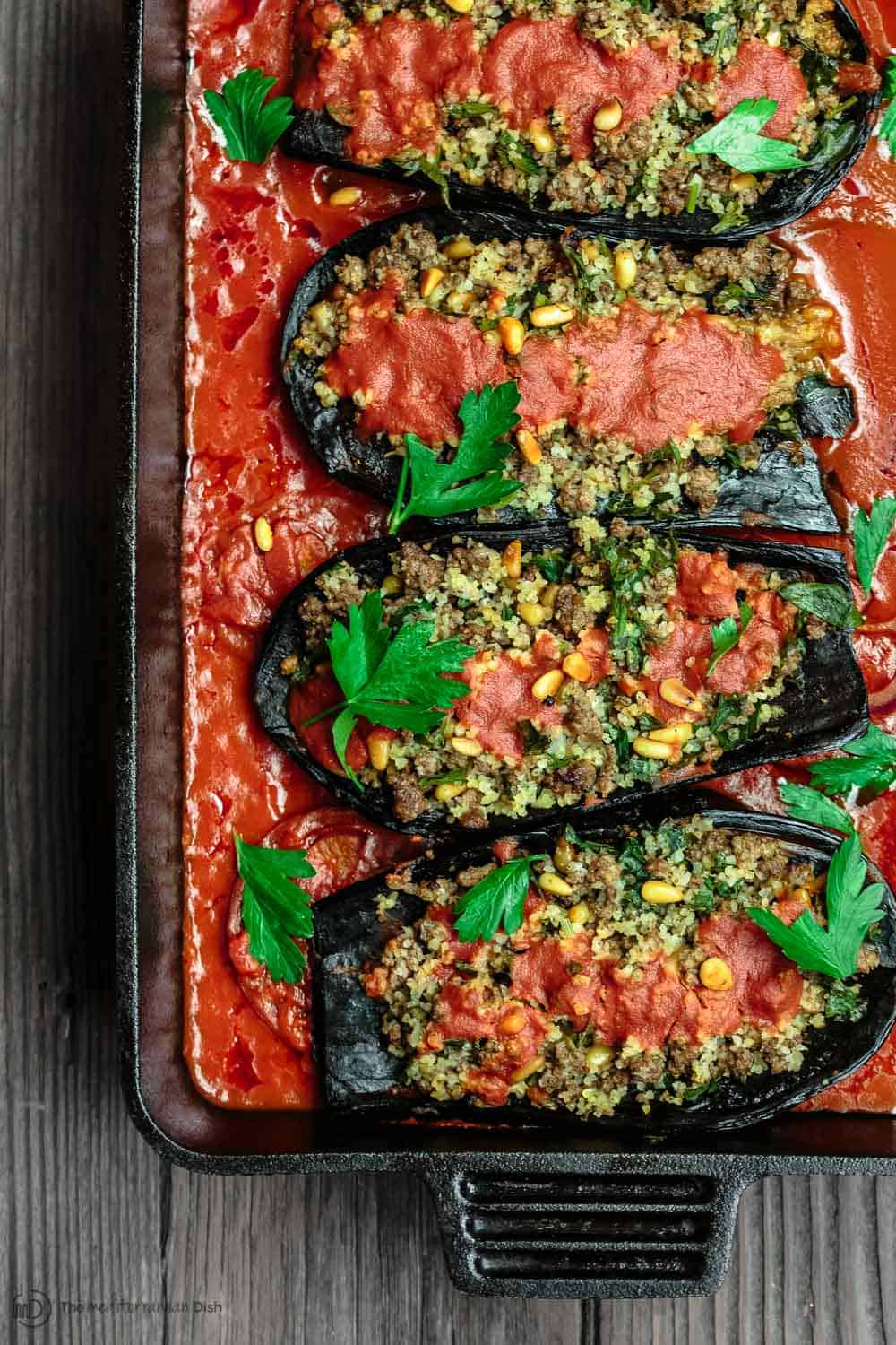 Stuffed eggplant with ground beef the mediterranean dish mediterranean stuffed eggplant recipe the mediterranean dish this is a must try all forumfinder Image collections