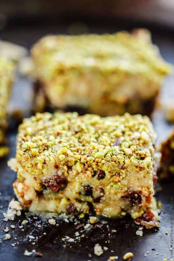 Dessert Bars w/ Dates, honey and nuts cut into squares