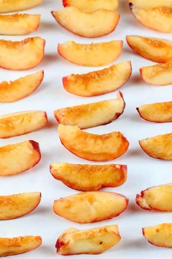 Slices of peaches