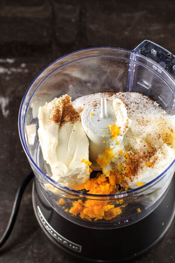Greek yogurt, cream cheese, orange zest, sugar,nutmeg and cinnamon combined in a food processor