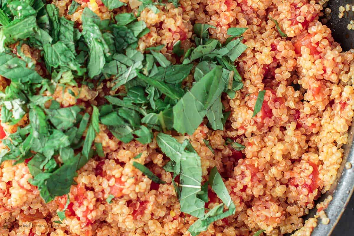 Quinoa with tomato and mint