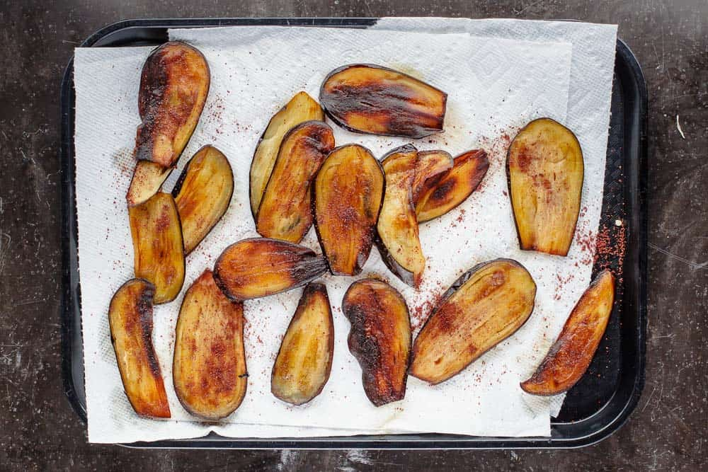Fried eggplant slices