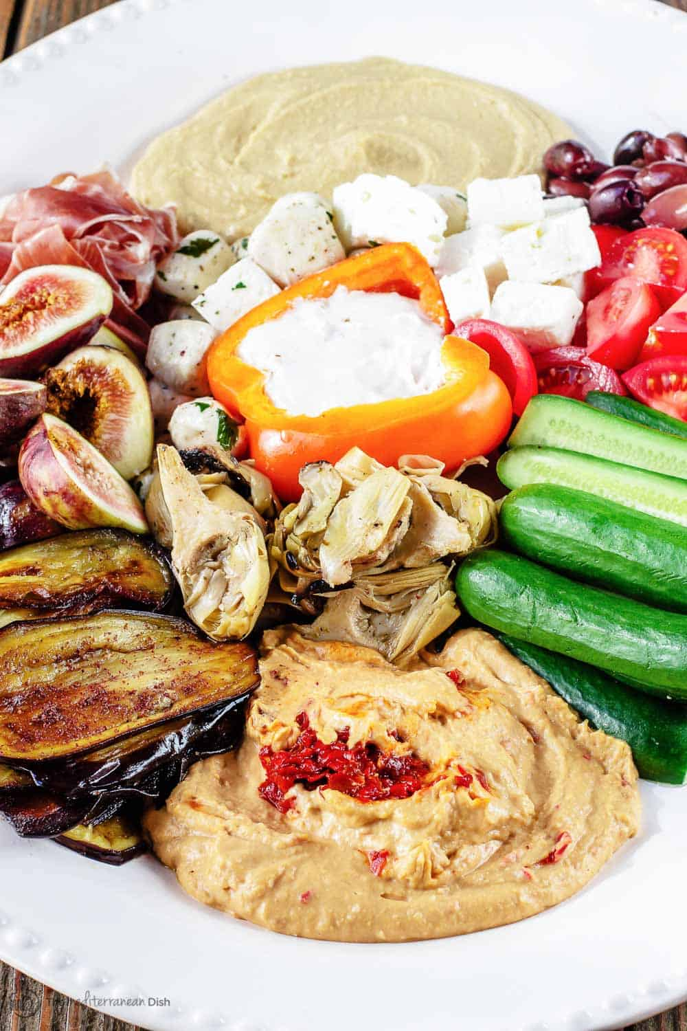 Mezze party platter with hummus