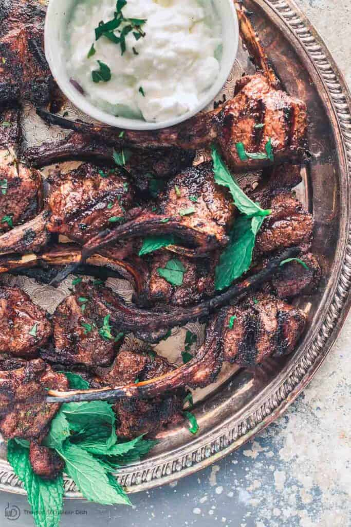 Mediterranean Grilled Lamb Chops with a side of Tzatziki