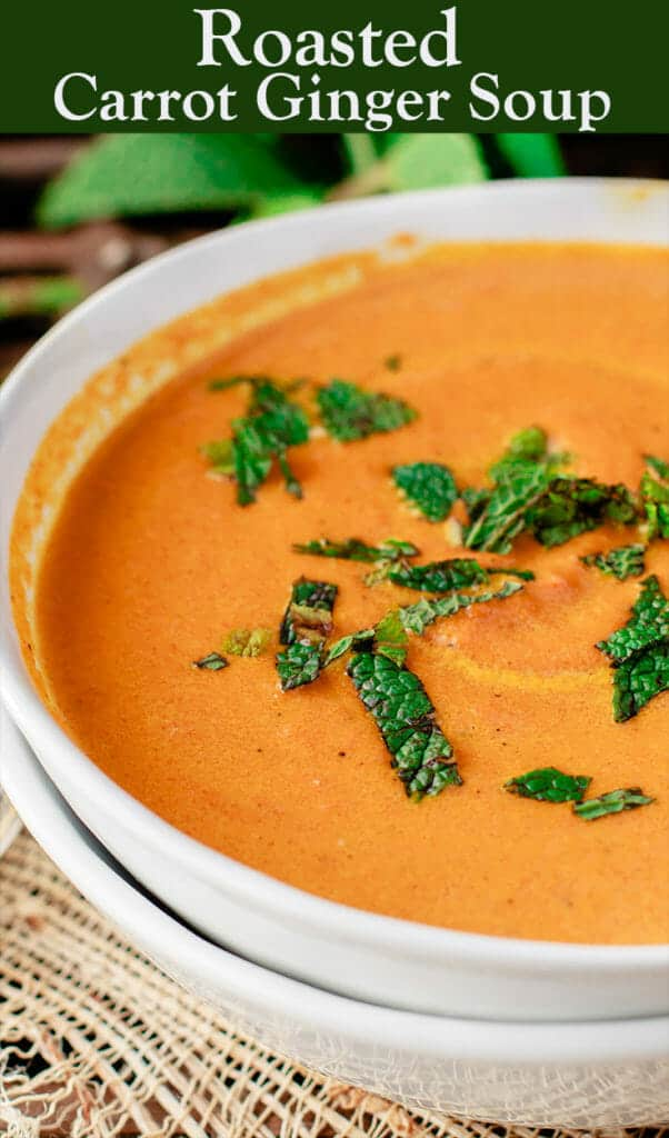 BEST Roasted Carrot Soup | The Mediterranean Dish. This roasted carrot soup is creamy but still light and packed with flavor from warm Mediterranean spices, garlic, and fresh ginger. Gluten Free. Leftovers are even better the next day. Recipe and video on TheMediterraneanDish.com #carrotsoup #roastedcarrot #vegetariansoup #soup #glutenfree #mealprep #mediterraneanrecipe
