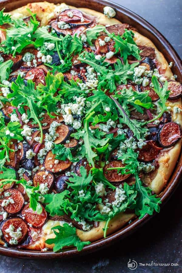 Pizza with Three Cheeses, Steak and Figs
