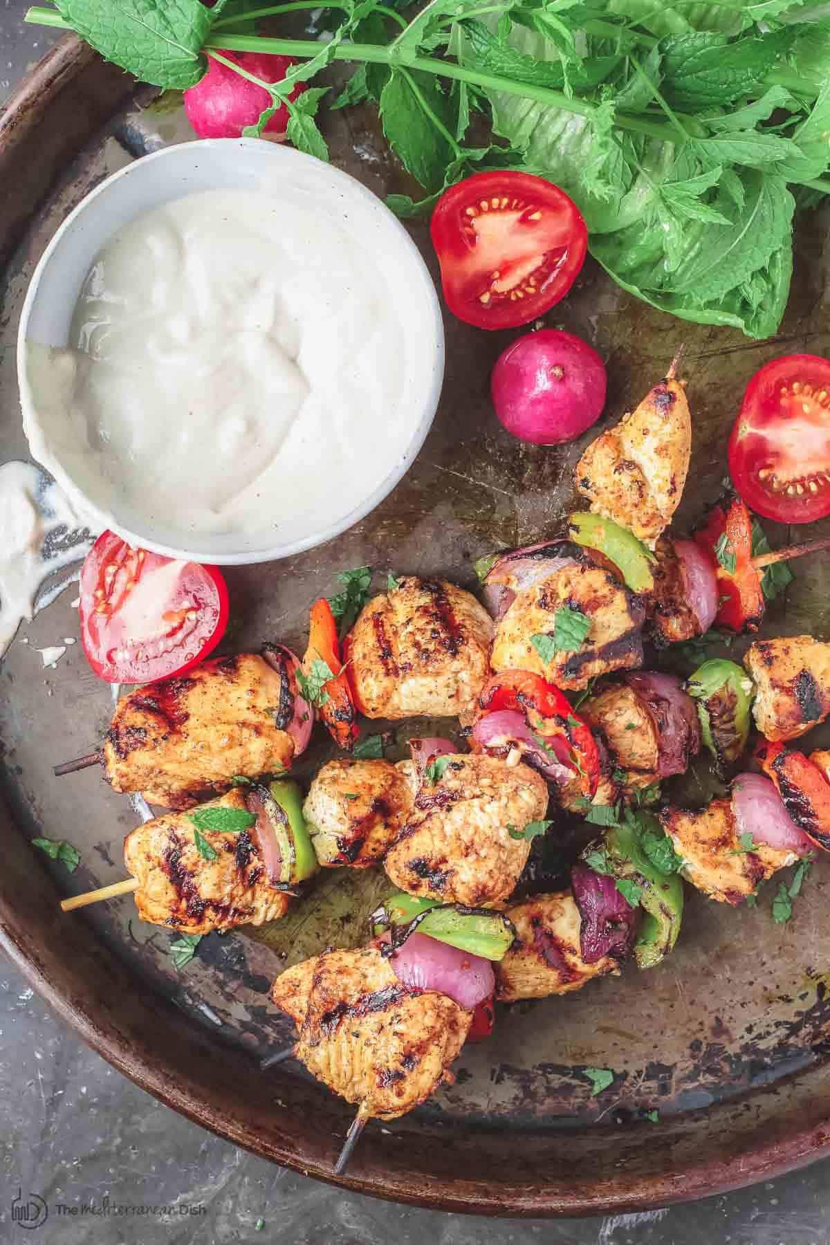 Mediterranean Grilled Chicken Kabobs Recipe Cayenne Tahini Sauce Make Chicken Kabobs Like A Mediterranean