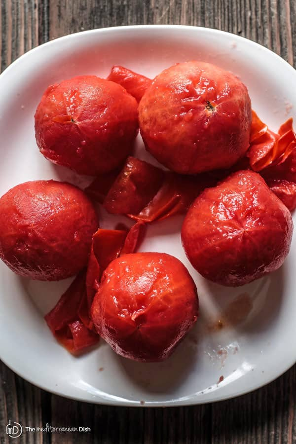 Tomatoes with skin removed