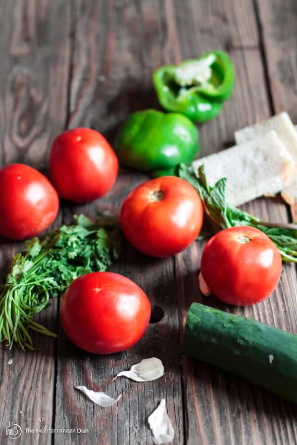 Tomato, cucumber, peppers
