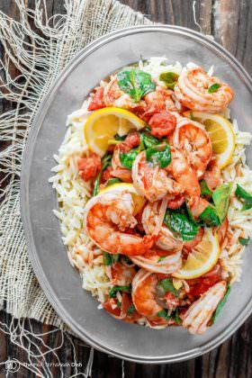Garlic-Tomato Shrimp Recipe with Orzo