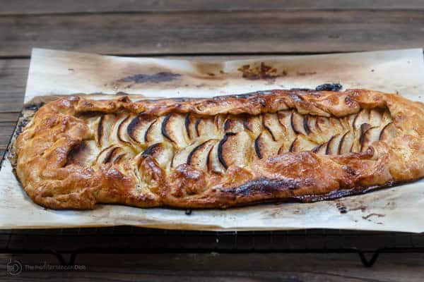 Apple galette just taken out of the oven - browned edges
