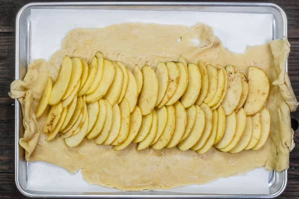 apple slices added to galette dough