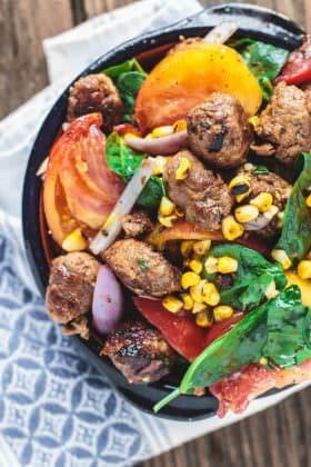 Chorizo Tomato and Charred Corn Salad