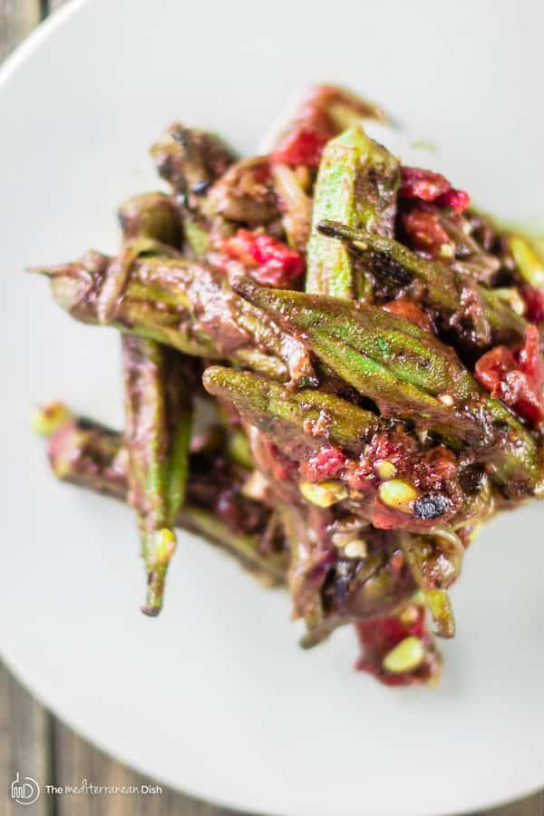 Close-up of one serving of Mediterranean One Skillet Okra and Tomatoes