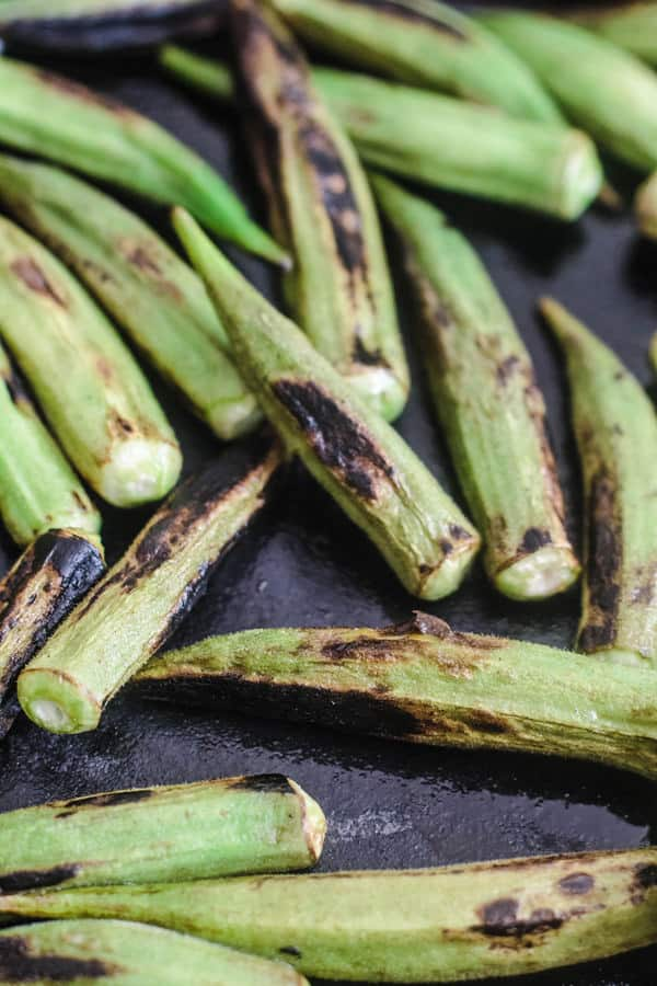 Charred Okra in a skillet