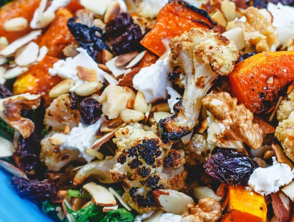 Roasted Butternut Squash and Cauliflower Salad   The Mediterranean Dish. An easy, comforting and bright salad! Try it for lunch or add it to your dinner or even to the Thanksgiving feast!