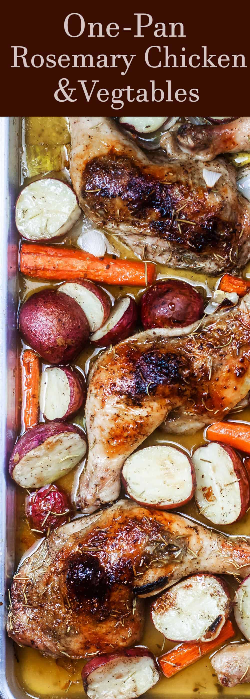 Rosemary Roasted Chicken Recipe with Vegetables | The Mediterranean Dish. A simple and satisfying one-pan roasted chicken recipe packed with flavor from Mediterranean spices including rosemary and a generous amount of lemon juice and olive oil. A healthy and cozy fuss-free dinner! Get the recipe on TheMediterraneanDish.com #mediterraneanrecipe #mediterraneandiet #sheetpan #chickendinner