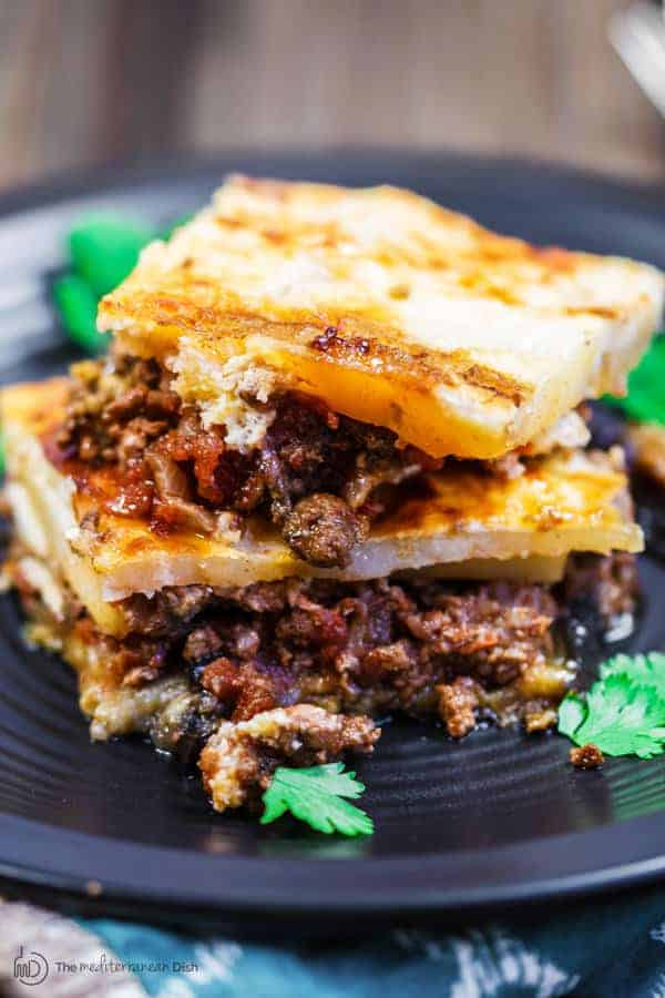 Moussaka recipe eggplant casserole the mediterranean dish moussaka recipe the mediterranean dish a layered eggplant casserole with potatoes and a hearty forumfinder Image collections