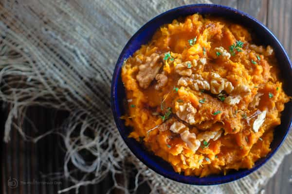 Walnuts added to the top of Mashed Sweet Potatoes