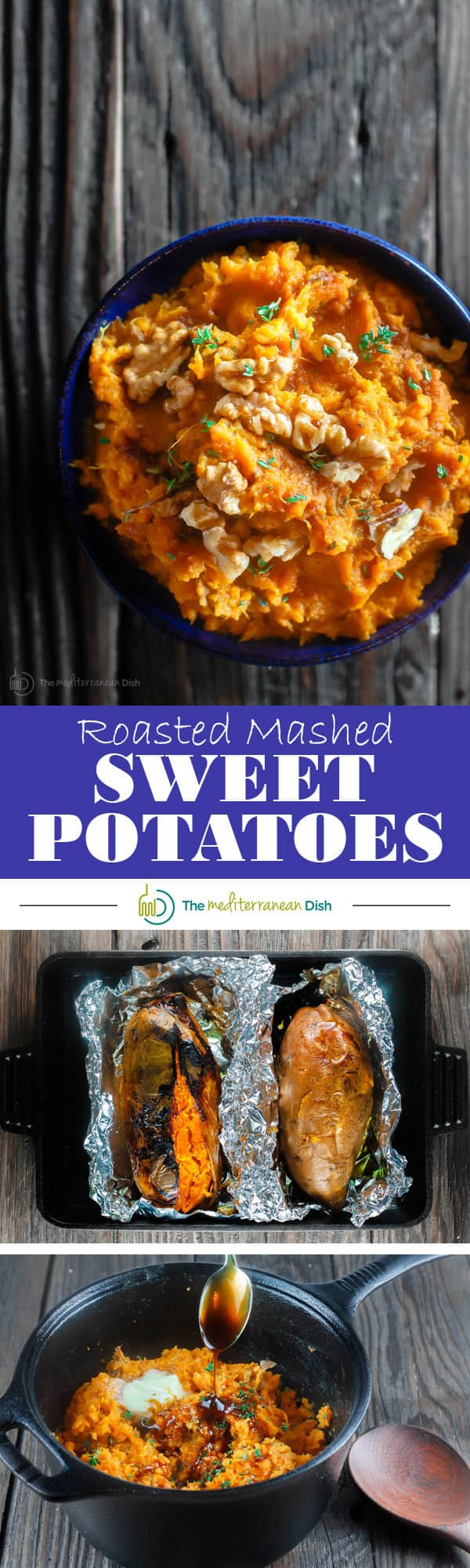 Roasted Mashed Sweet Potatoes with Thyme and Molasses | The Mediterranean Dish. Do not hide your mashed sweet potatoes underneath marshmallows. Try this simple, rustic and flavor packed mashed sweet potatoes instead. The perfect Thanksgiving dish.