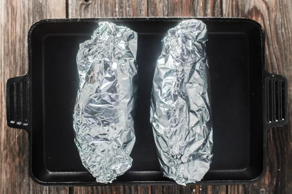 Sweet Potatoes wrapped in Aluminum foil