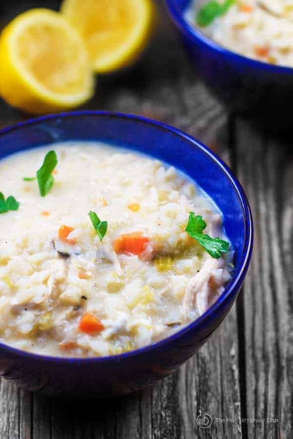 Avgolemono Soup Recipe | The Mediterranean Dish. Avgolemono soup is a classic Greek lemon chicken soup that is thickened with eggs. With rice and vegetables, it's a hearty meal in itself! Comes together in 30 mins or less. Get the step-by-step today!