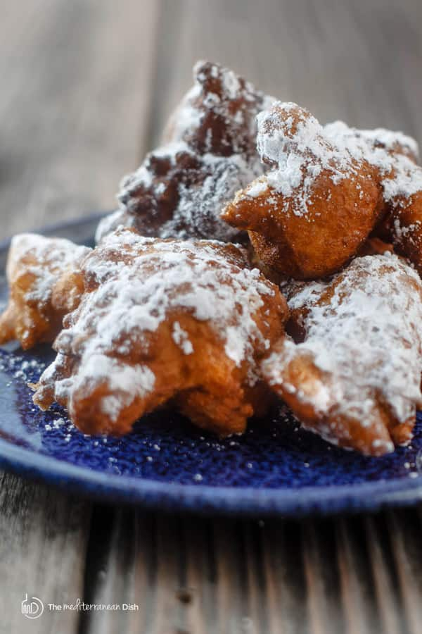 Donuts covered in powdered sugar