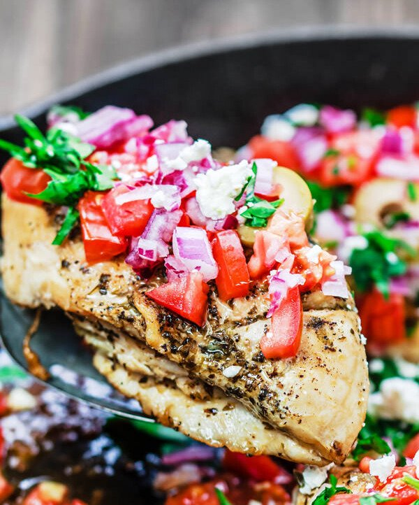 One-Skillet Mediterranean Chicken Recipe   The Mediterranean Dish. This Greek-inspired chicken dinner comes together in 15 minutes! Four chicken breasts and a few flavor-packed ingredients is all you need!