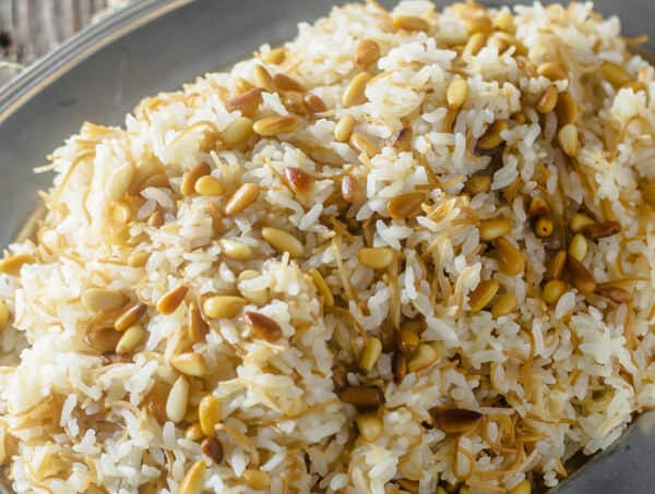 Lebanese Rice Recipe | The Mediterranean Dish. The perfect rice pilaf with olive oil, vermicelli pasta and toasted pine nuts. Recipe with step-by-step photos at The Mediterranean Dish!