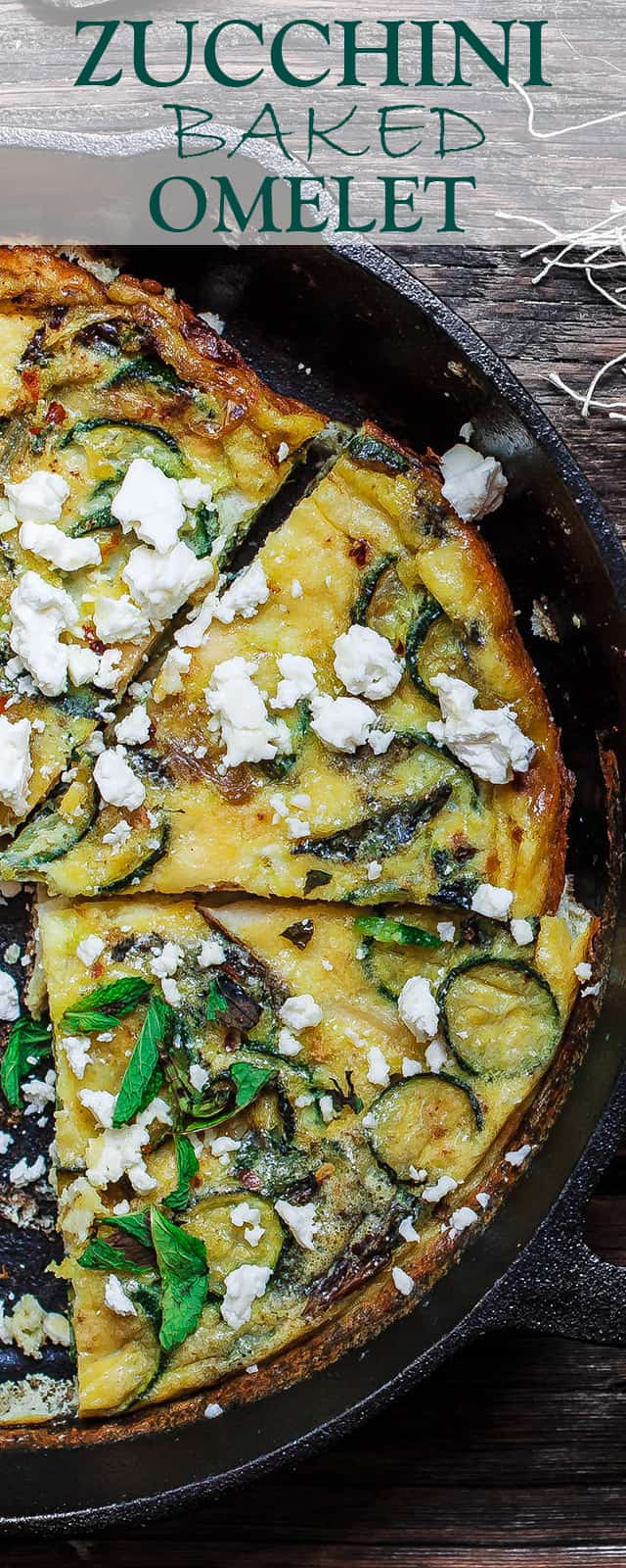 Middle Eastern Zuchini Baked Omelet Recipe | The Mediterranean Dish. A dense, flavor packed version of fritatta recipe. With zucchini, onions, fresh mint and olive oil. The perfect breakfast or brunch. See the step-by-step at The Mediterranean Dish!