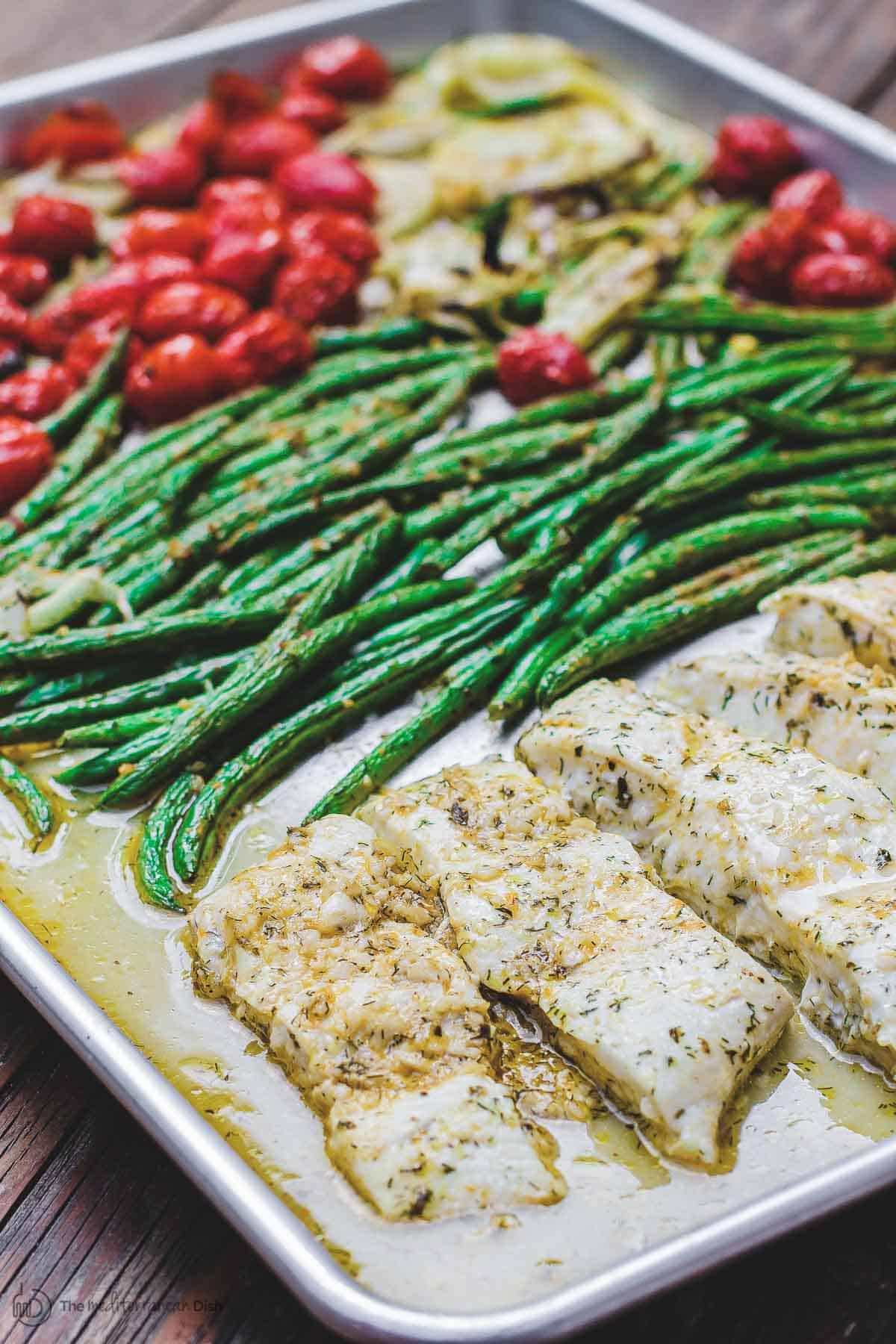 Mediterranean Baked Halibut Recipe with Green Beans and Tomatoes in Sheet Pan