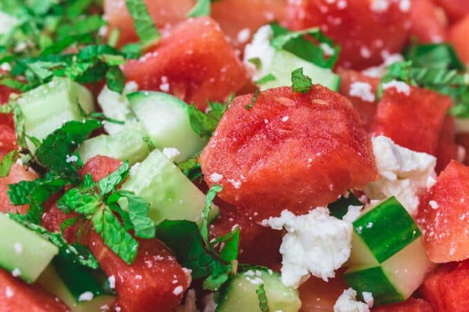 Mediterranean Watermelon Salad with Cucumber, Feta, Fresh Herbs and a Honey-Lime Dressing