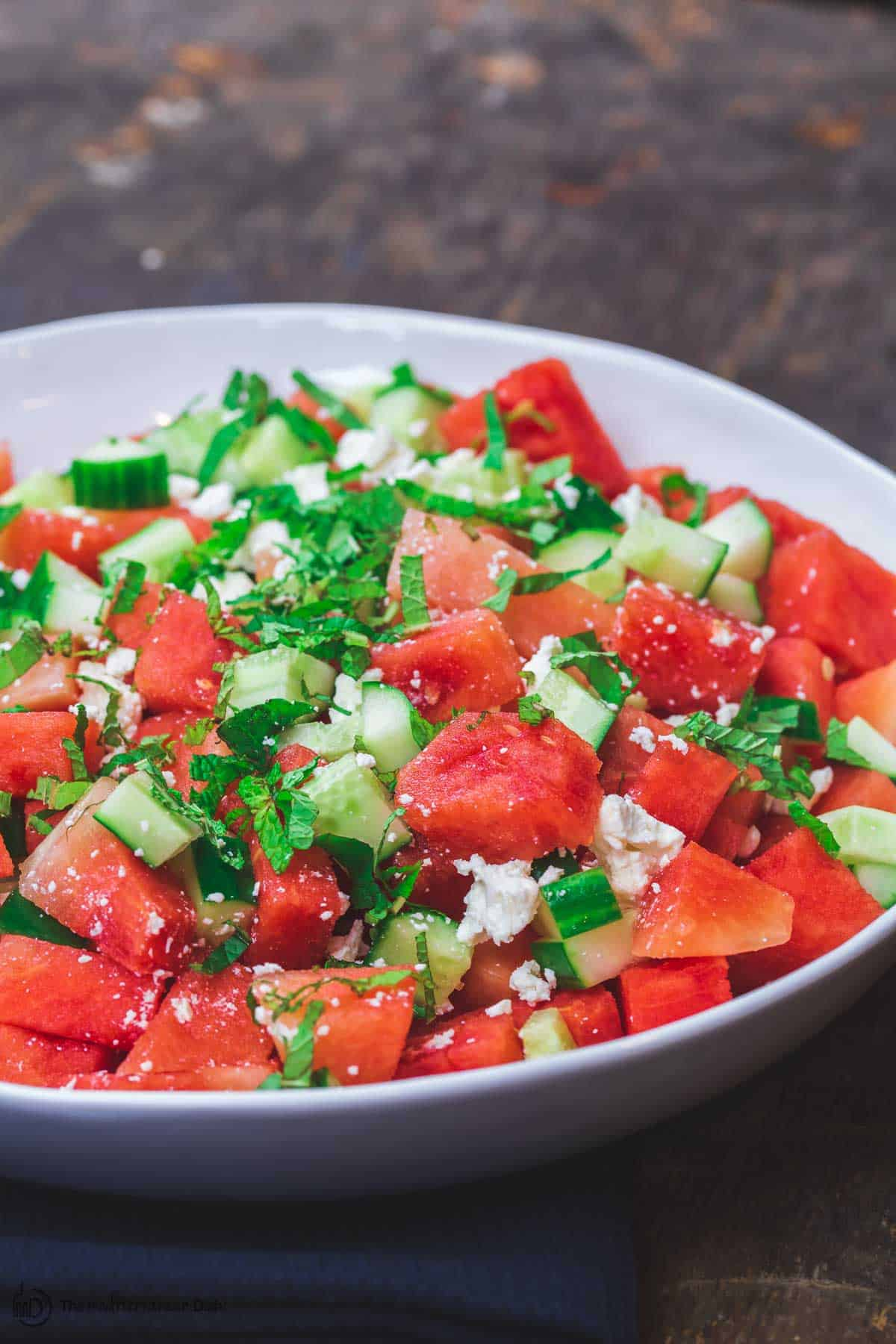 Close-up of the Mediterranean Watermelon Salad with fresh feta cheese on top