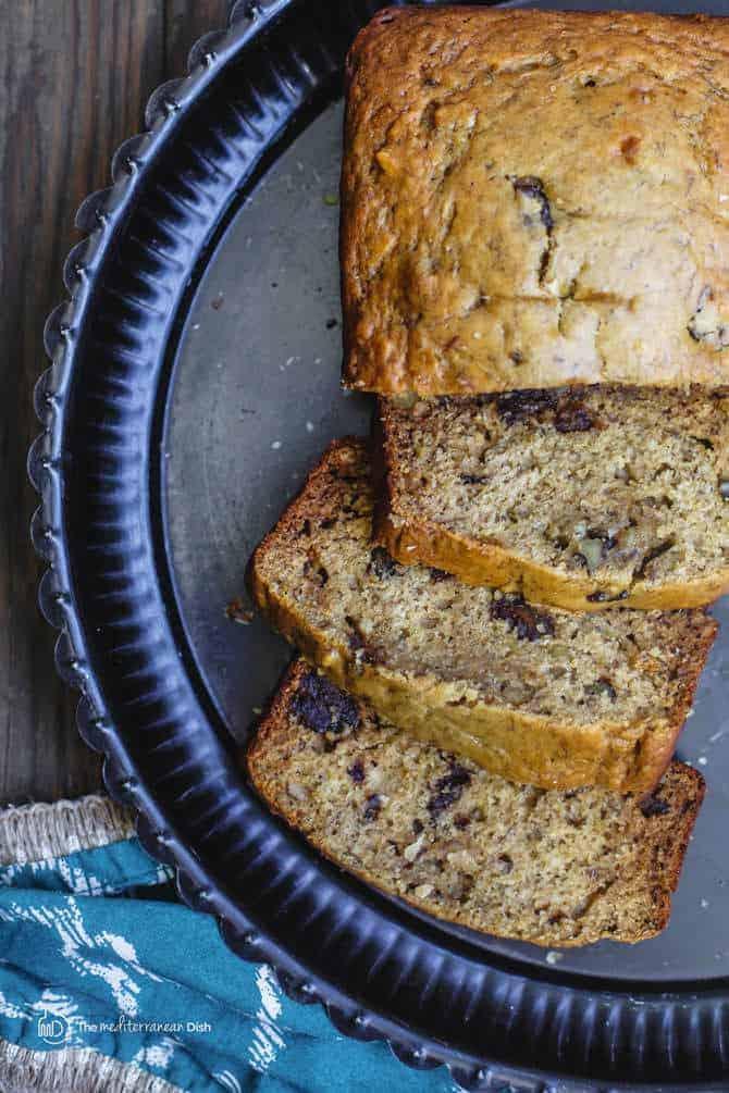 Healthy Olive Oil Banana Walnut Bread Video The Mediterranean Dish