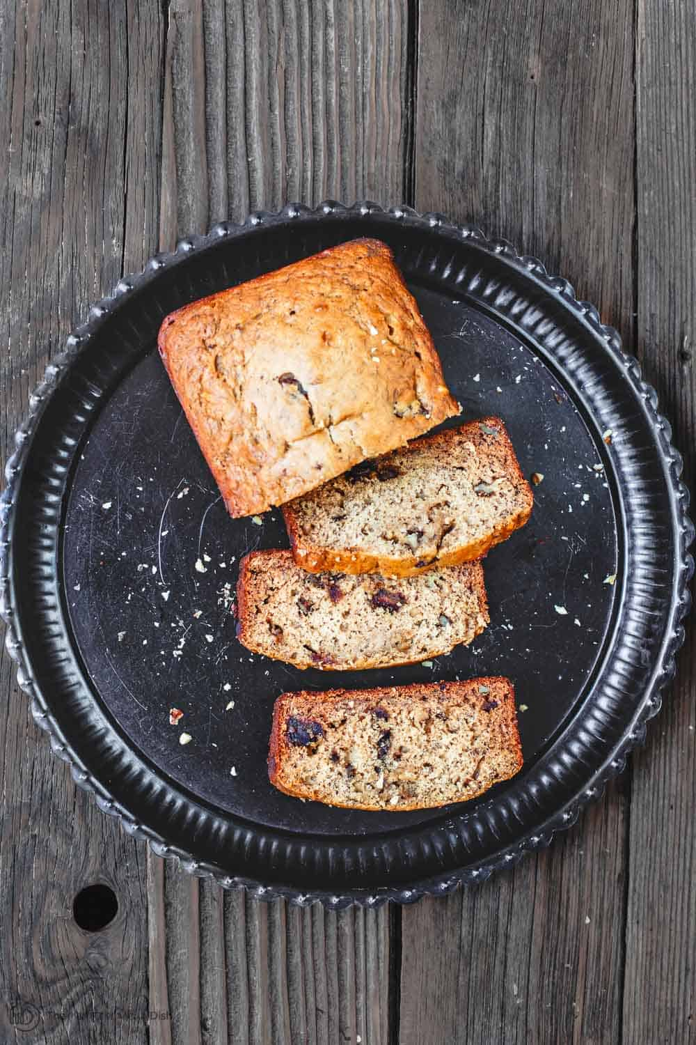 Healthy Banana Walnut Bread with Olive Oil, Honey and Dates