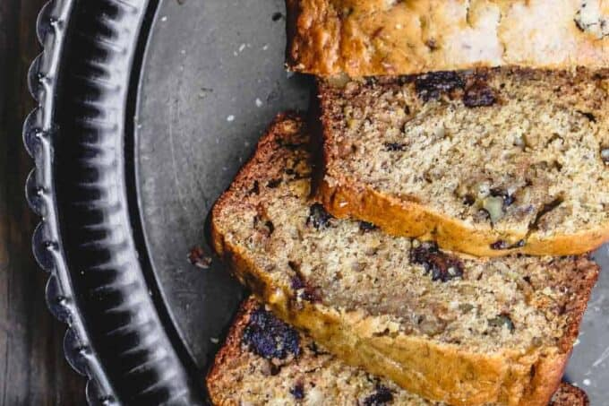 Olive Oil Banana Walnut Bread with Honey and Dates